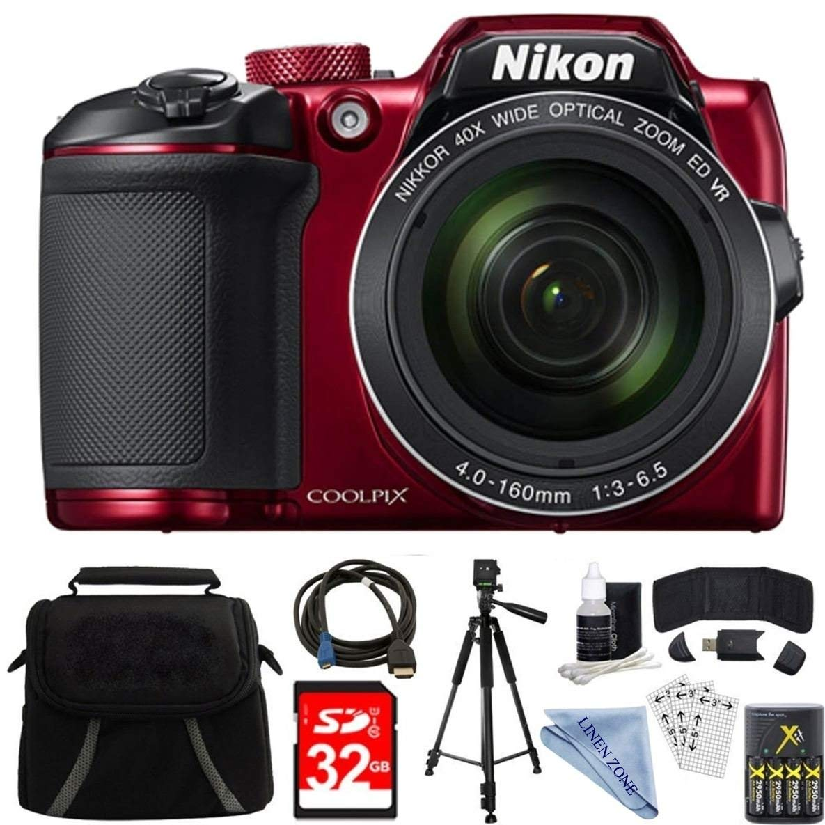 Nikon COOLPIX B500 RED 16MP 40x Optical Zoom Digital Camera 32GB Bundle includes Camera