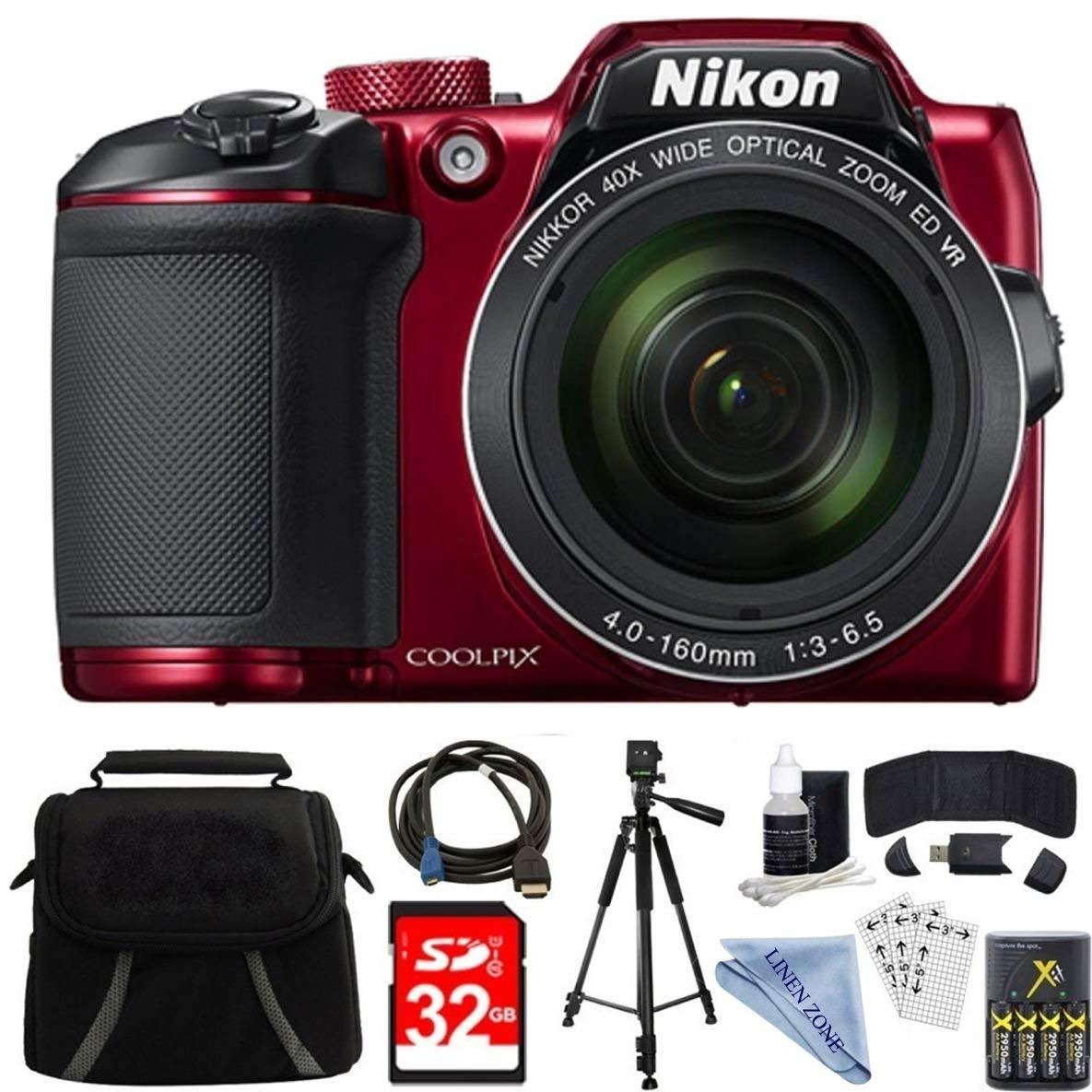 Nikon COOLPIX B500 RED 16MP 40x Optical Zoom Digital Camera 32GB Bundle includes Camera